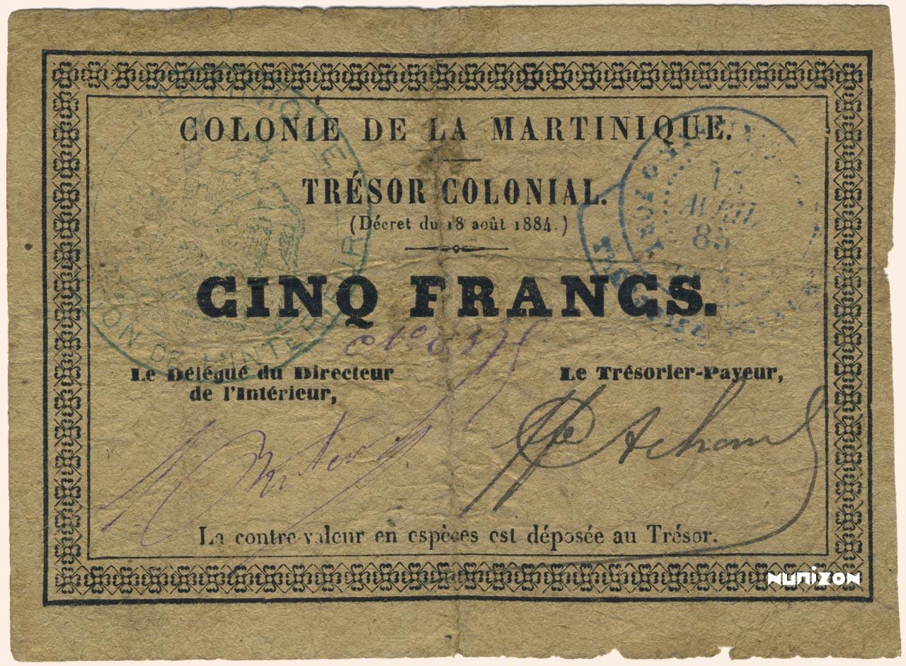 RECTO 5 francs Colonial Treasury Type 1885