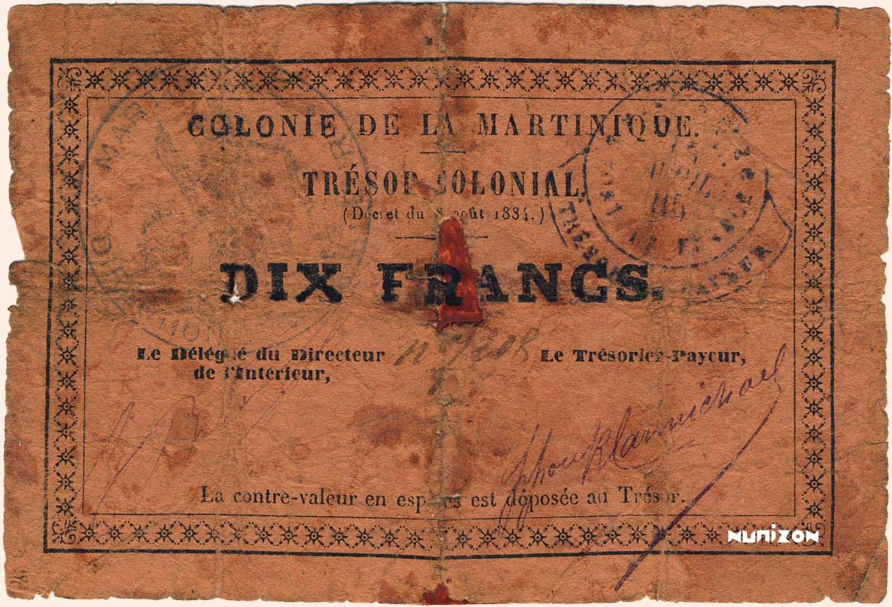 RECTO 10 francs Colonial Treasury Type 1885
