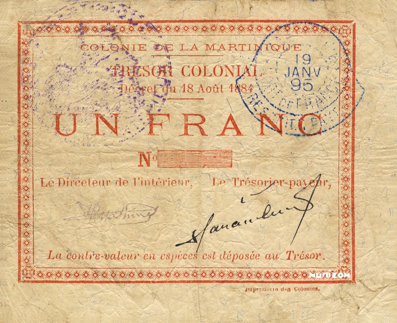 RECTO 1 franc Colonial Treasury Type 1895