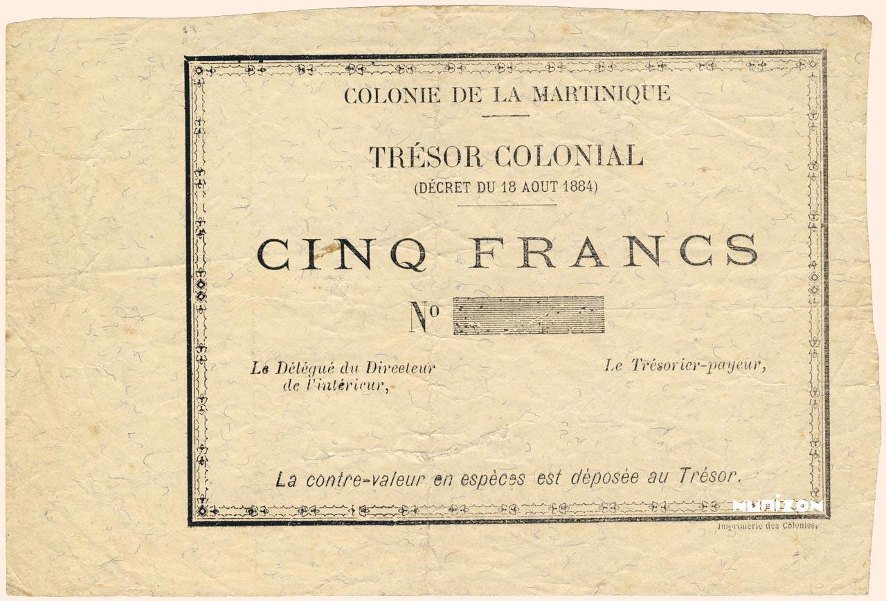 RECTO 5 francs Colonial Treasury Type 1895