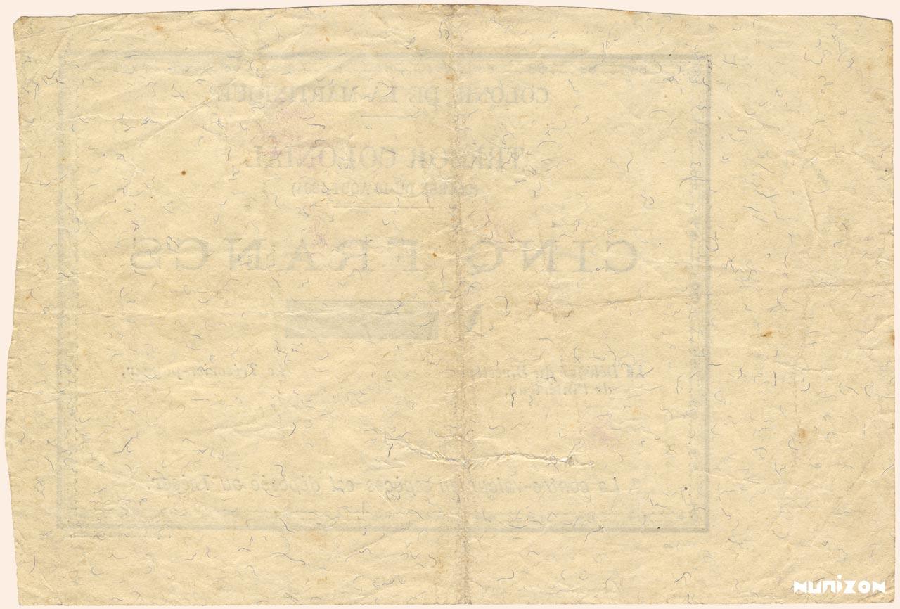 VERSO 5 francs Colonial Treasury Type 1895