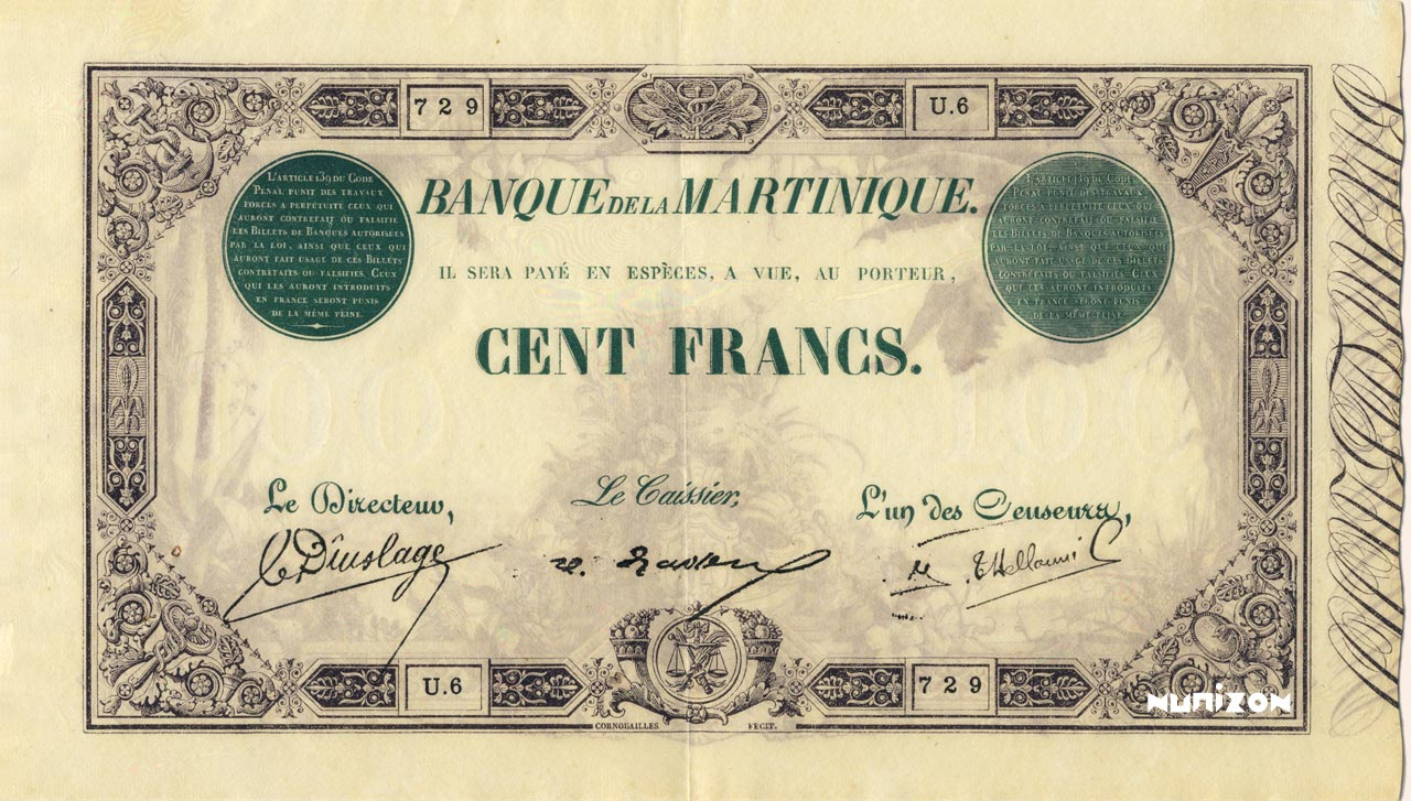 RECTO 100 francs Green and Black Type 1852