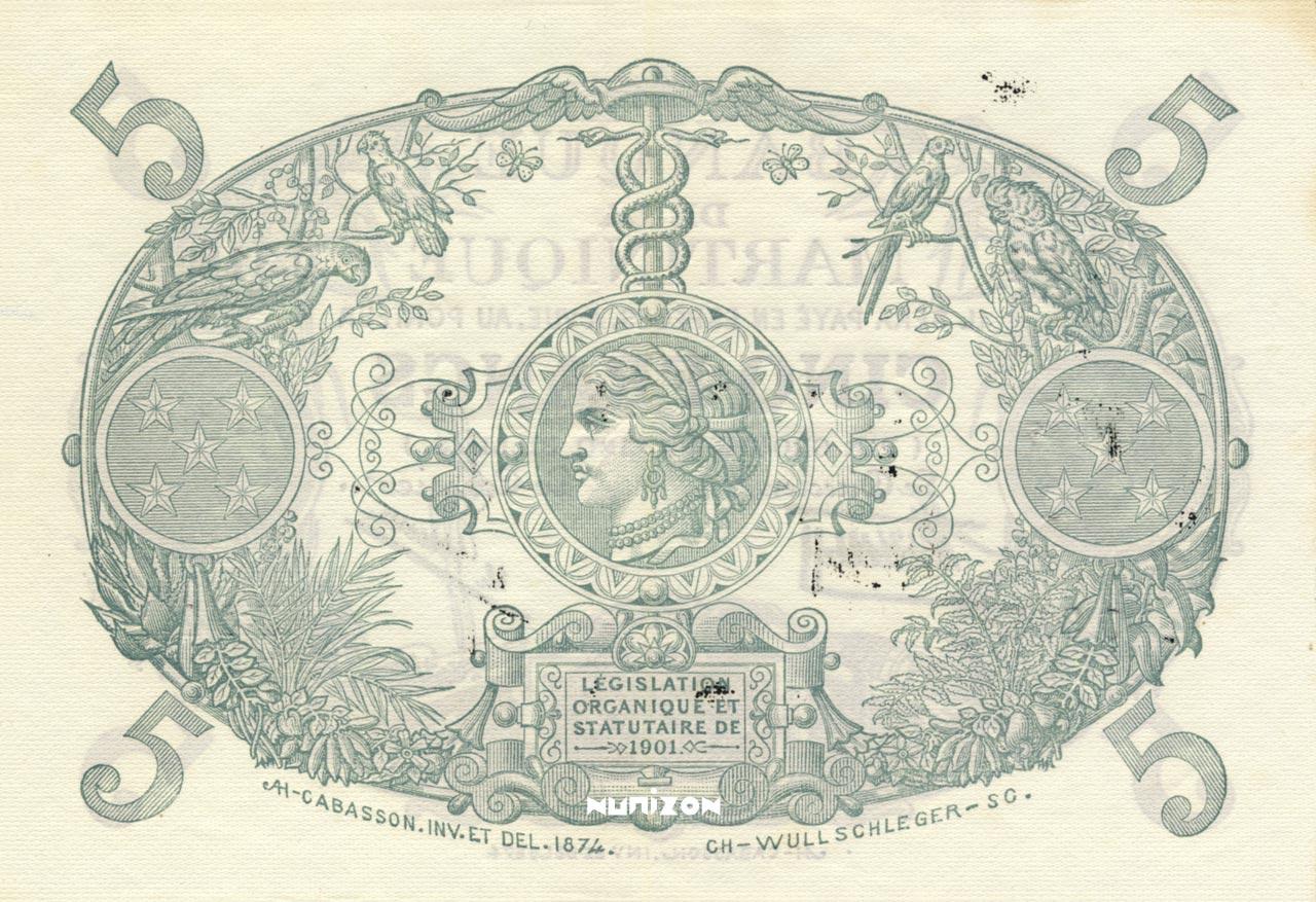 VERSO 5 francs Purple Type 1901