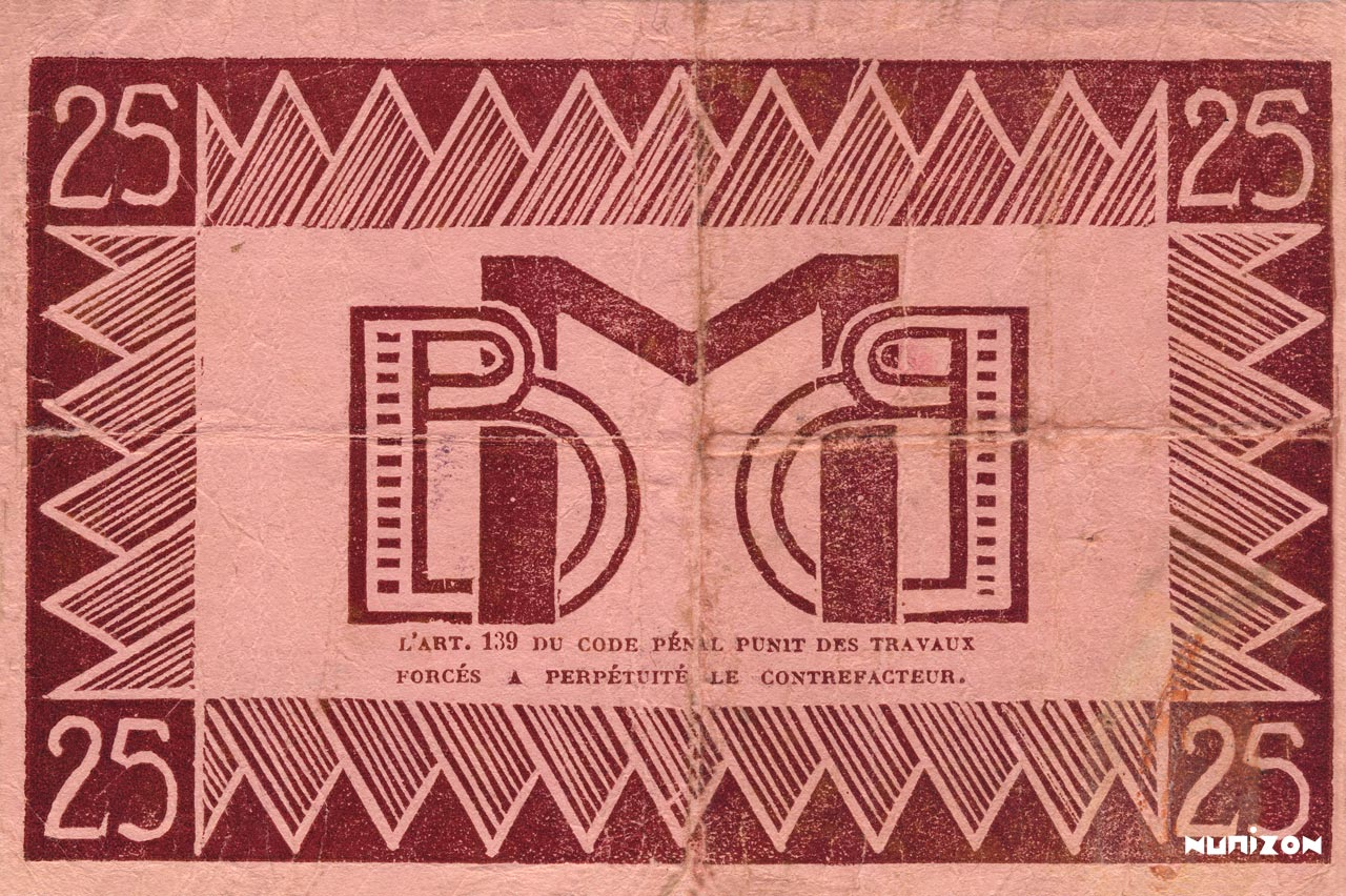 VERSO 25 francs Type 1941