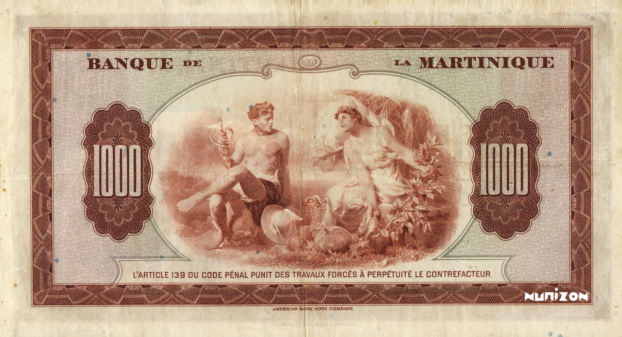 VERSO 1000 francs Type 1943  (US)