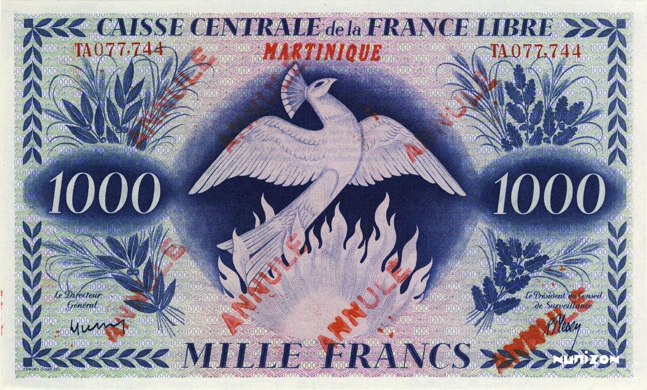 RECTO 1000 francs Free France Type 1943  (UK)