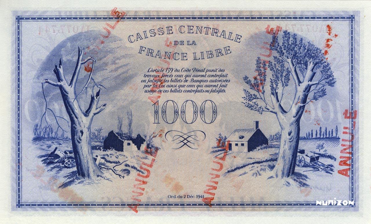 VERSO 1000 francs Free France Type 1943  (UK)
