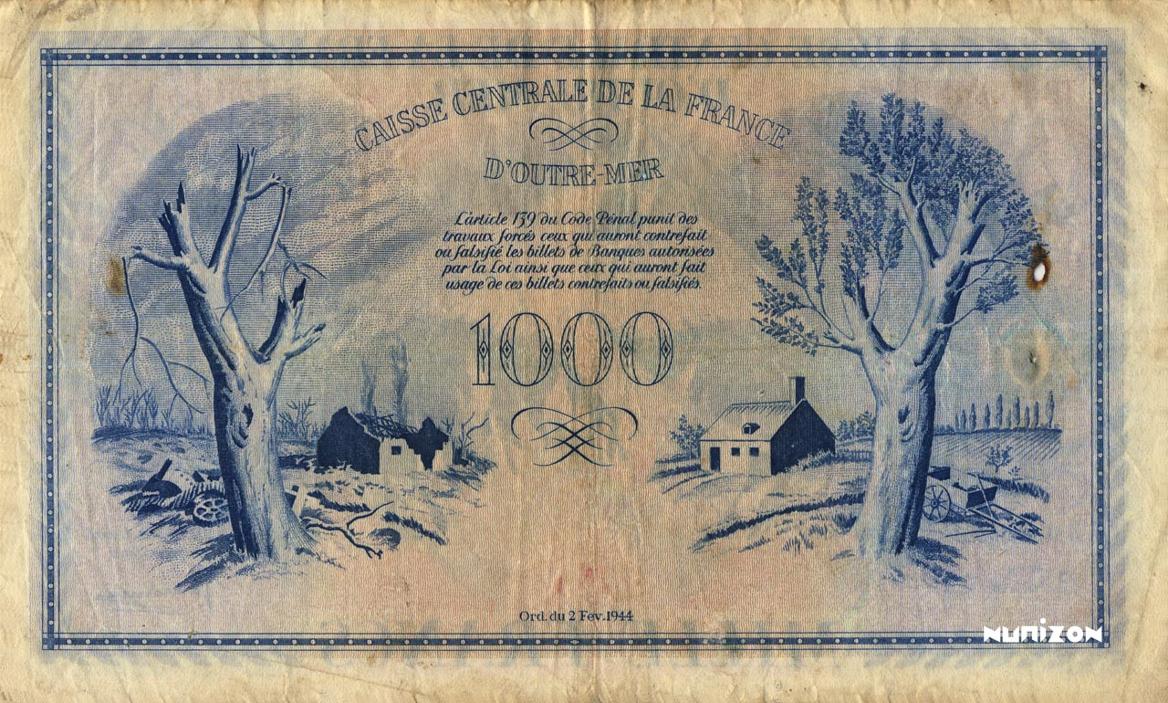 VERSO 1000 francs Type 1943  (UK)