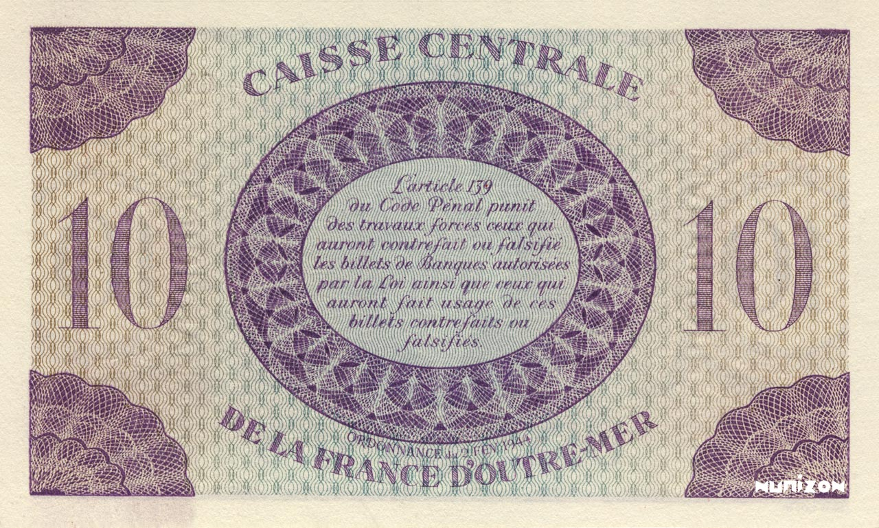 VERSO 10 francs Type 1943  (UK)