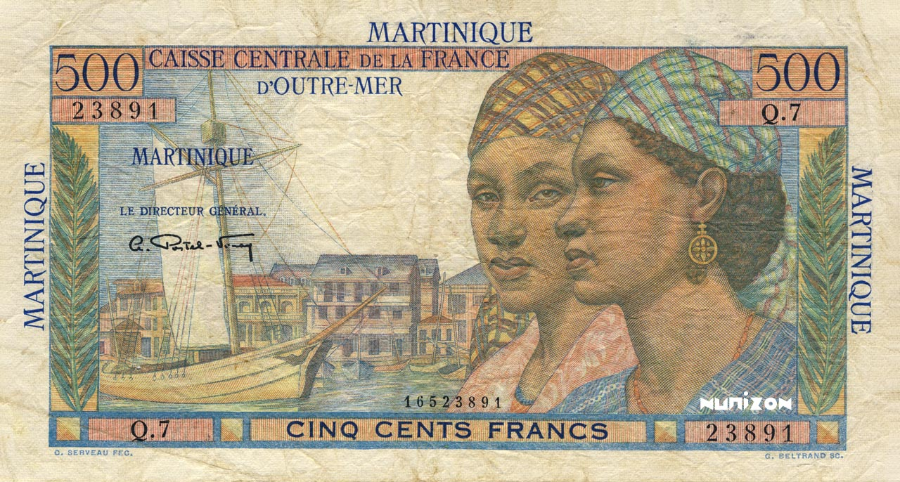 RECTO 500 francs Pointe à Pitre Type 1946