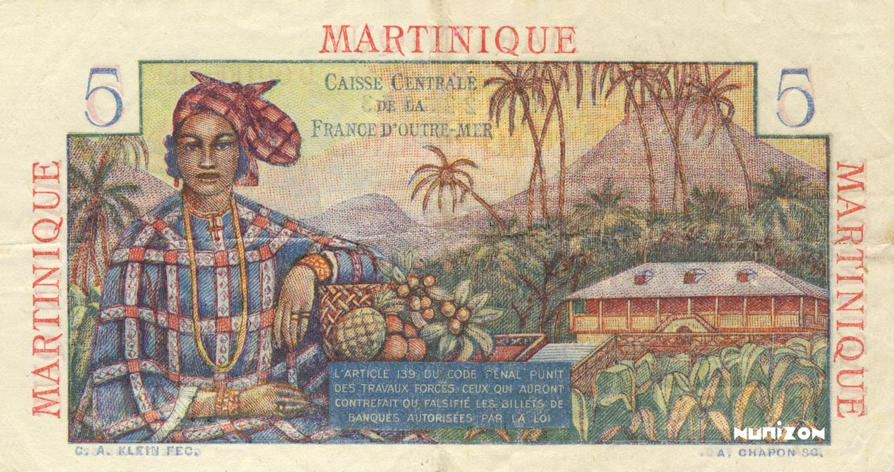 VERSO 5 francs Bougainville Type 1946