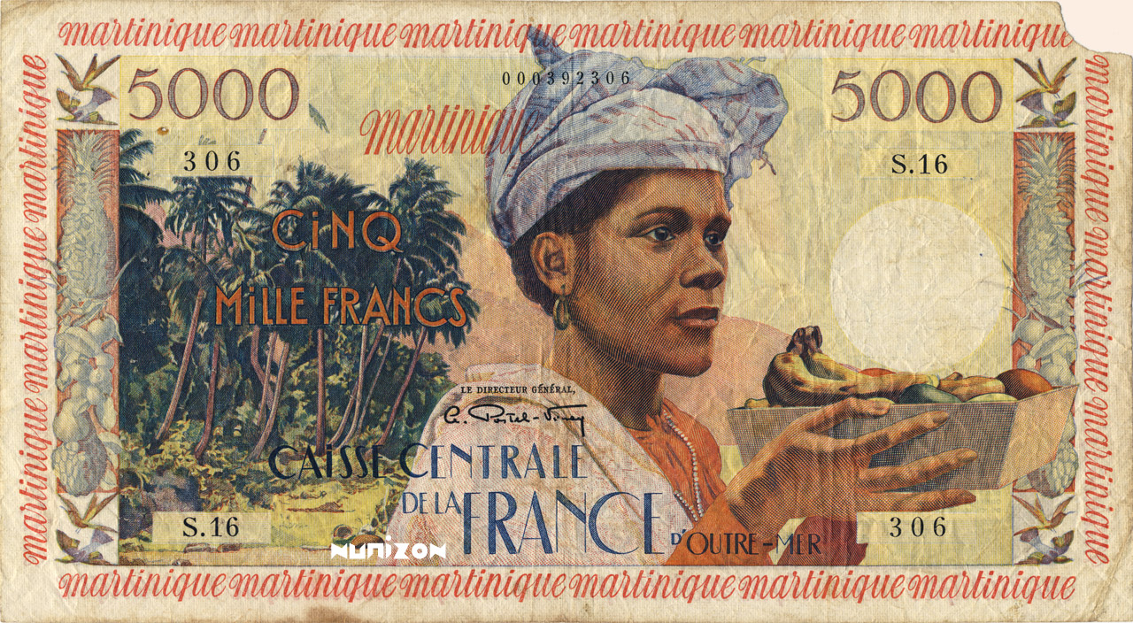 RECTO 5000 francs Antillean Type 1955