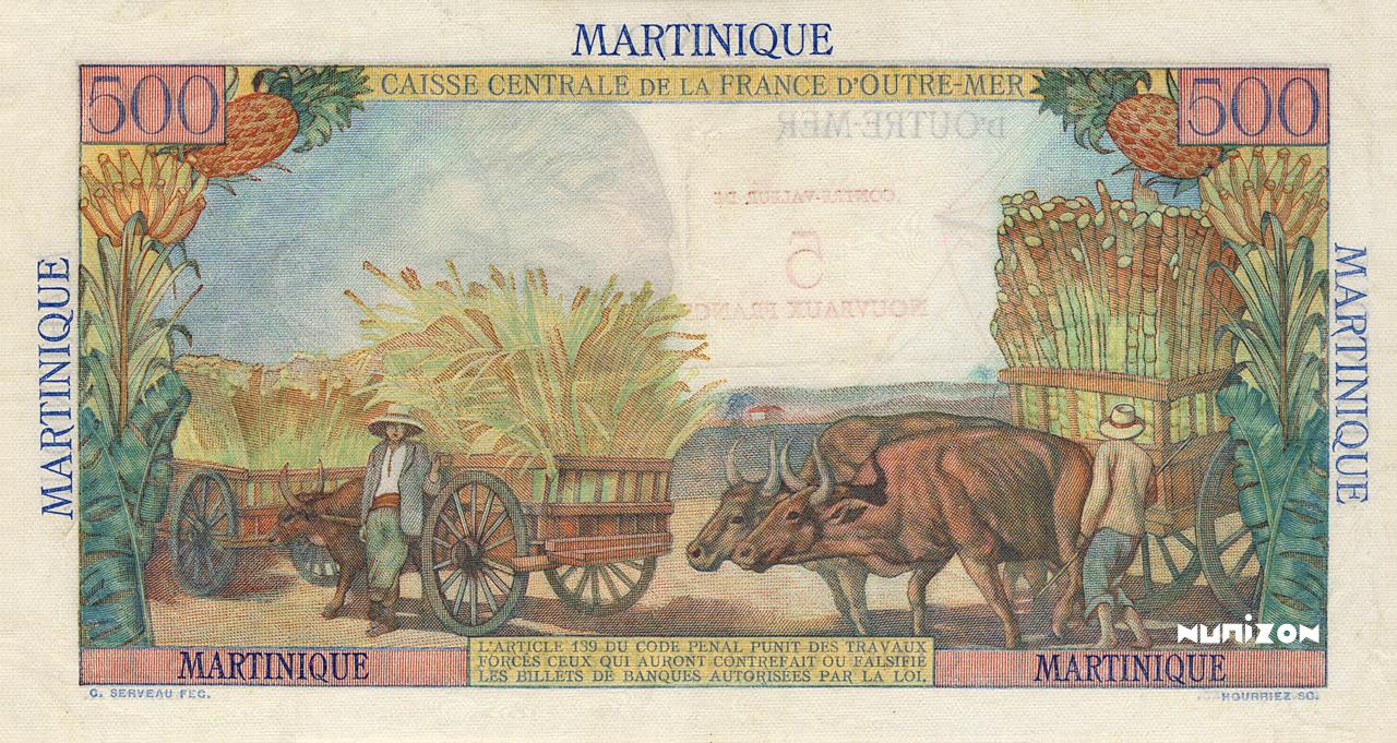 VERSO 5 NF/500 francs Pointe à Pitre Type 1946