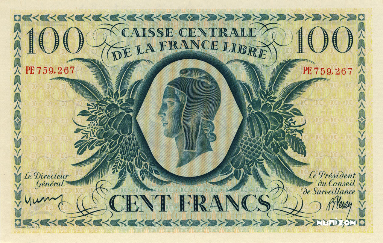 RECTO 100 francs Free France Type 1944