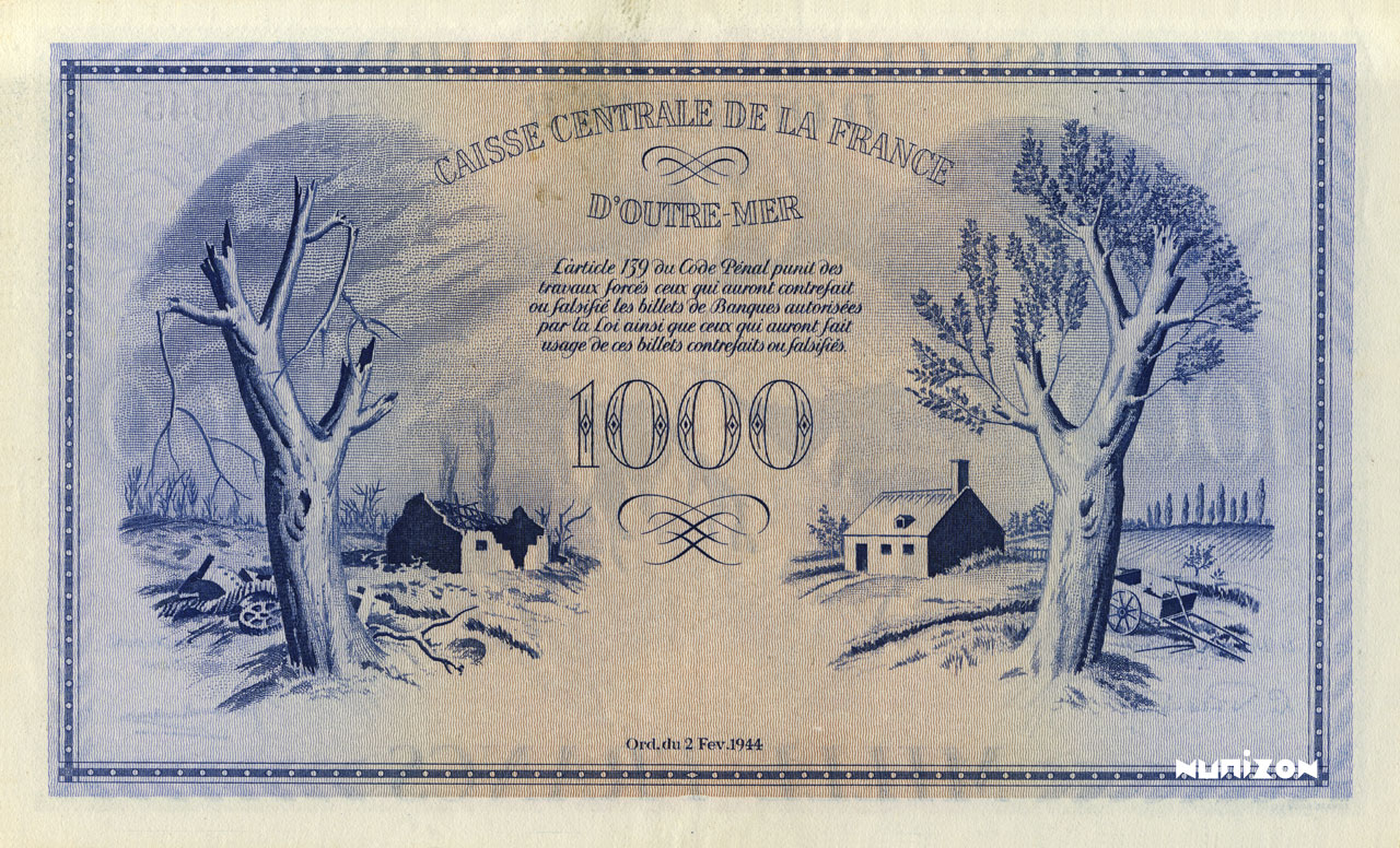 VERSO 1000 francs Type 1944 modified  (UK)