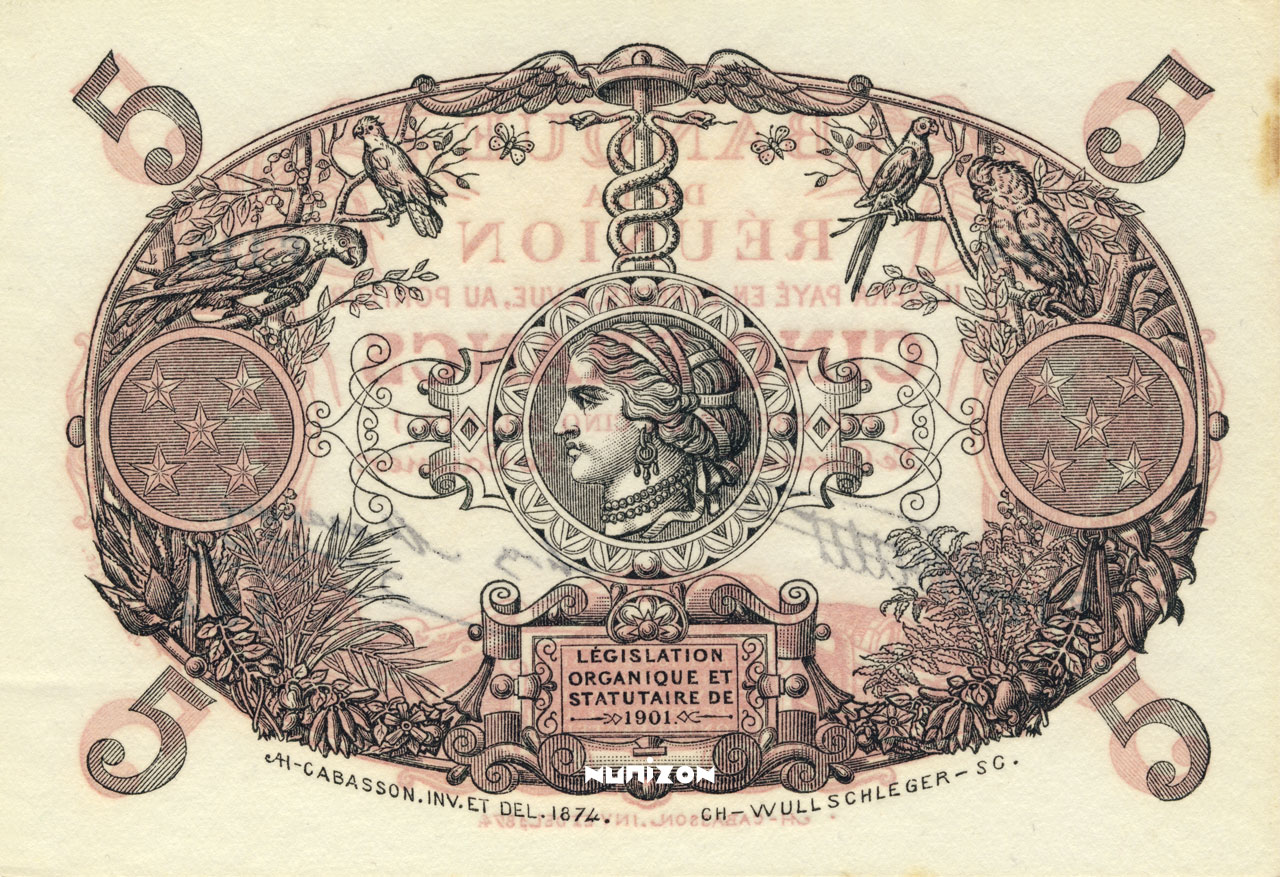 VERSO 5 francs Cabasson red Type 1901