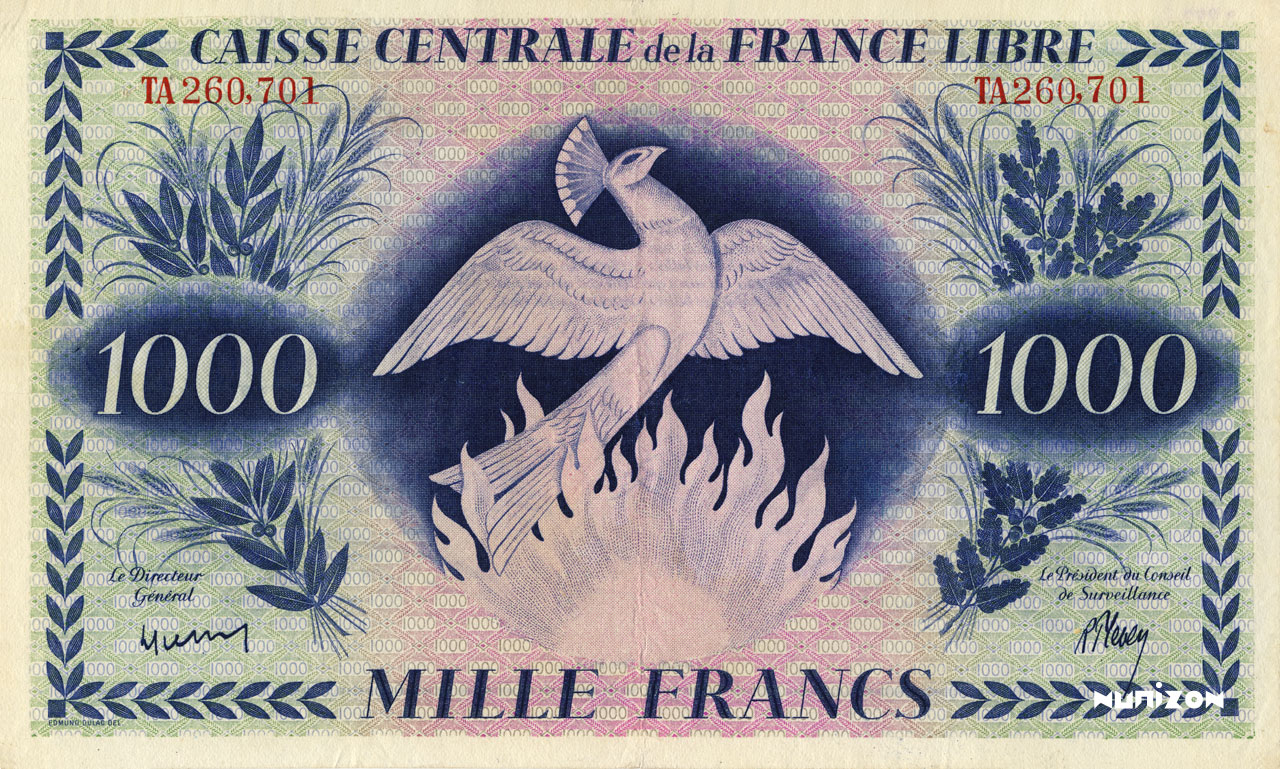 RECTO 1000 francs Free France Type 1943