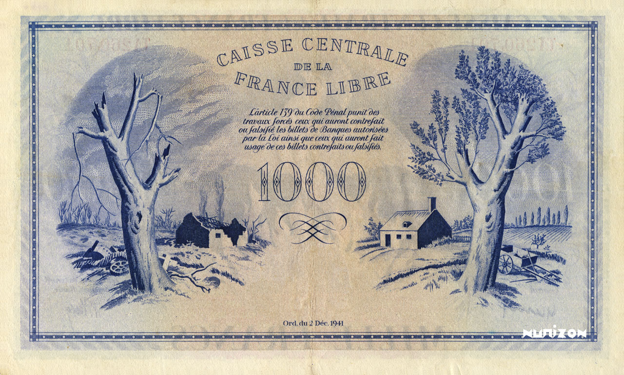 VERSO 1000 francs Free France Type 1943