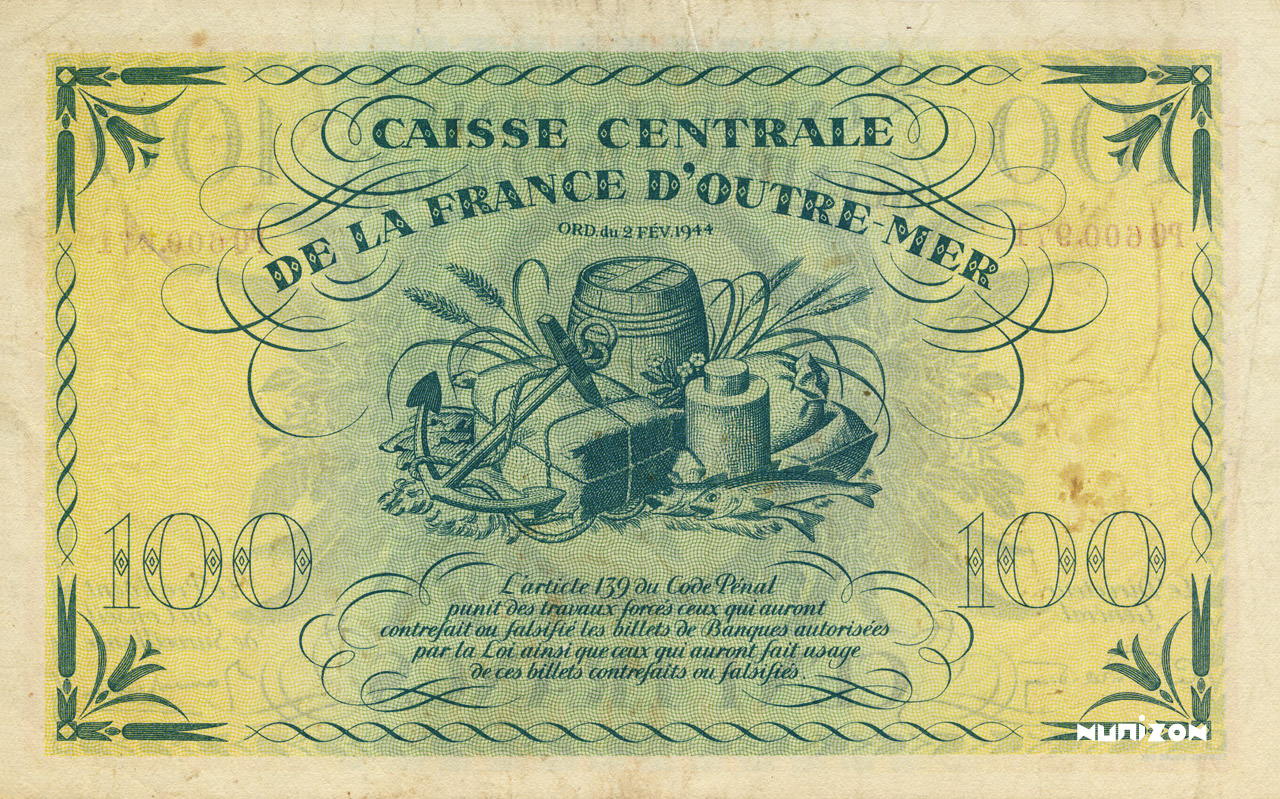 VERSO 100 francs Type 1944  (UK)