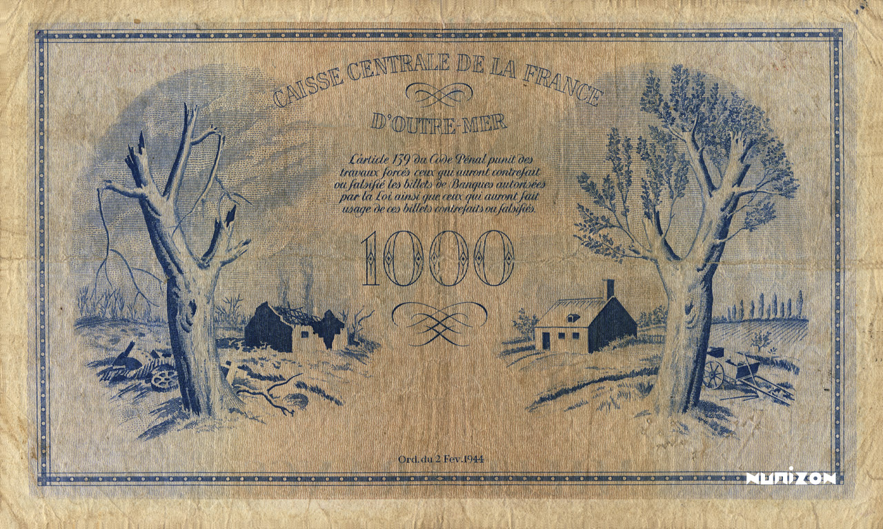 VERSO 1000 francs Type 1944  (UK)