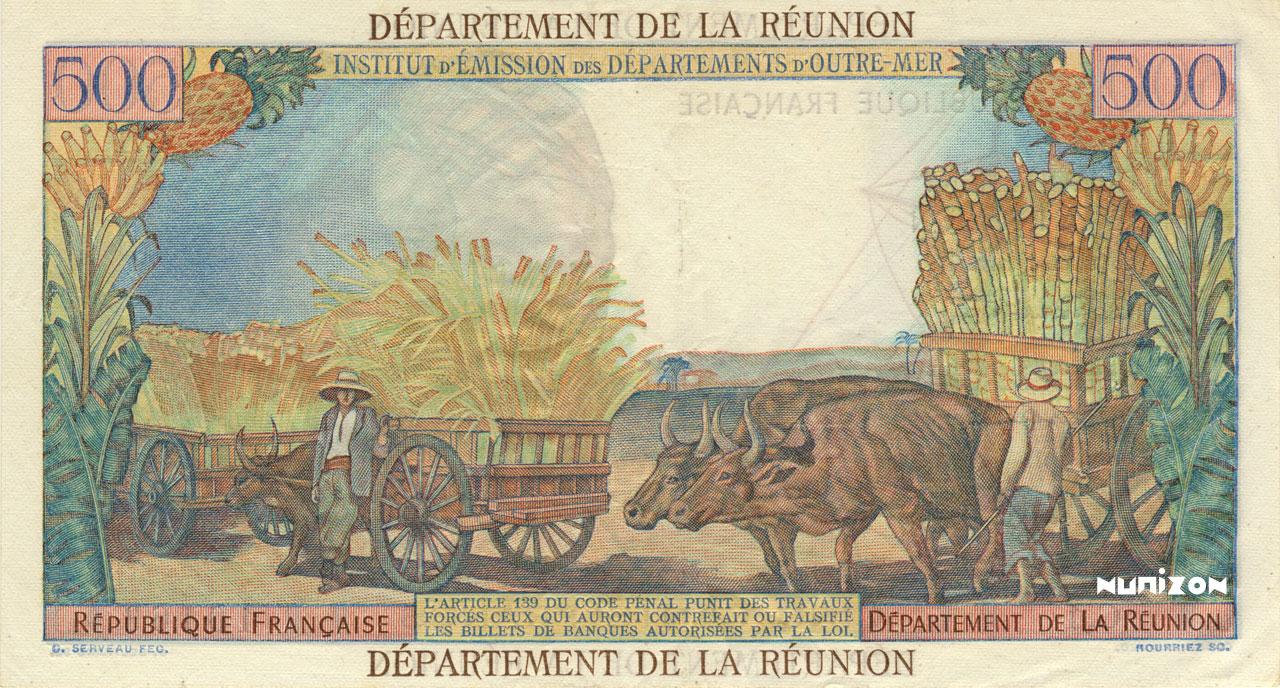 VERSO 500 francs Pointe à Pitre department Type 1964