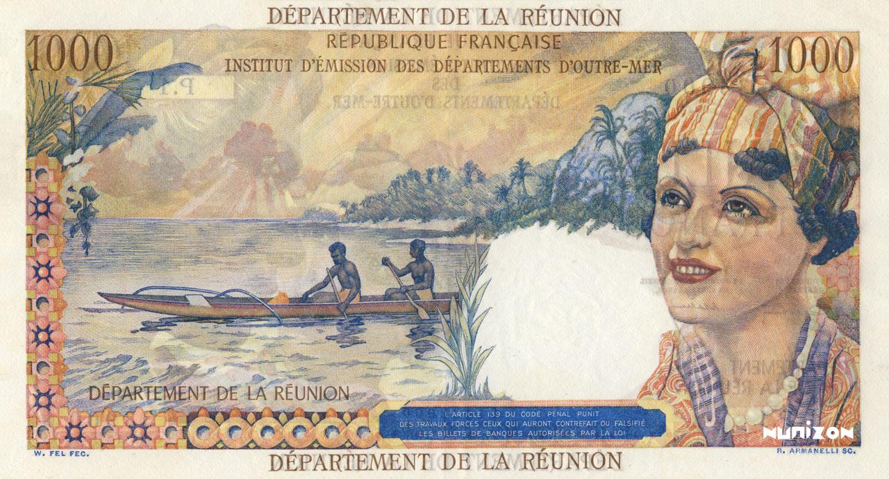 VERSO 1000 francs Union française department Type 1964