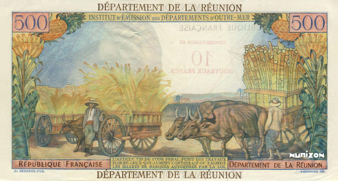 VERSO 10 NF/500 francs Pointe à Pitre Type 1967
