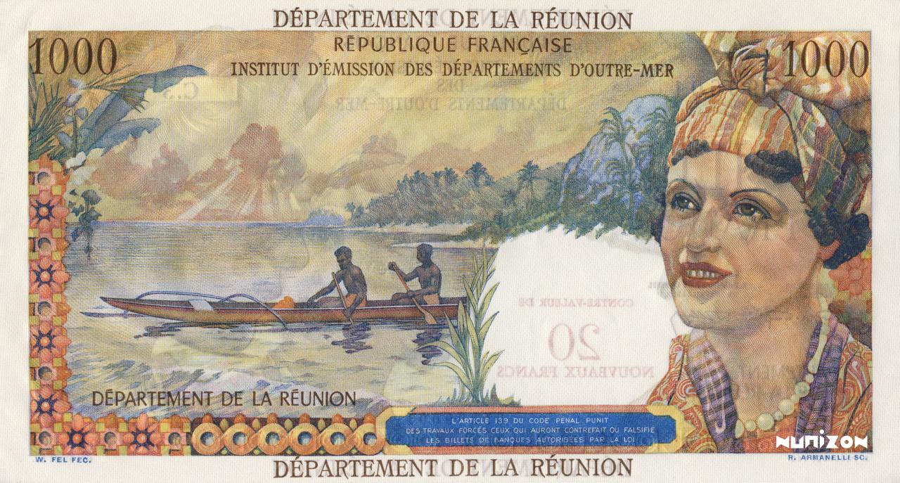 VERSO 20 NF/1000 francs Union française Type 1967