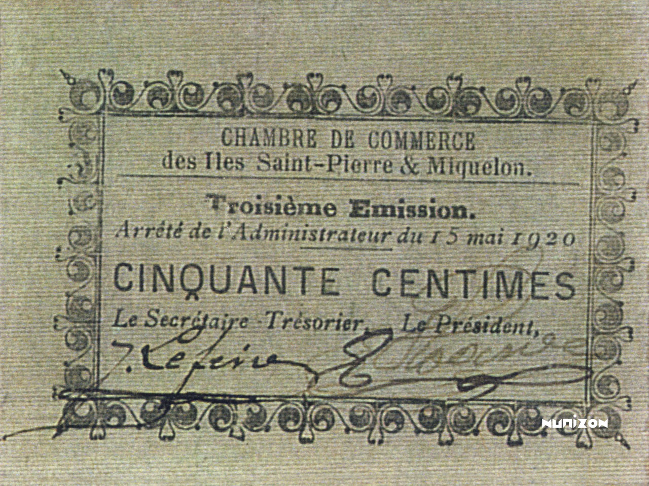 RECTO 50 centimes Type 1920