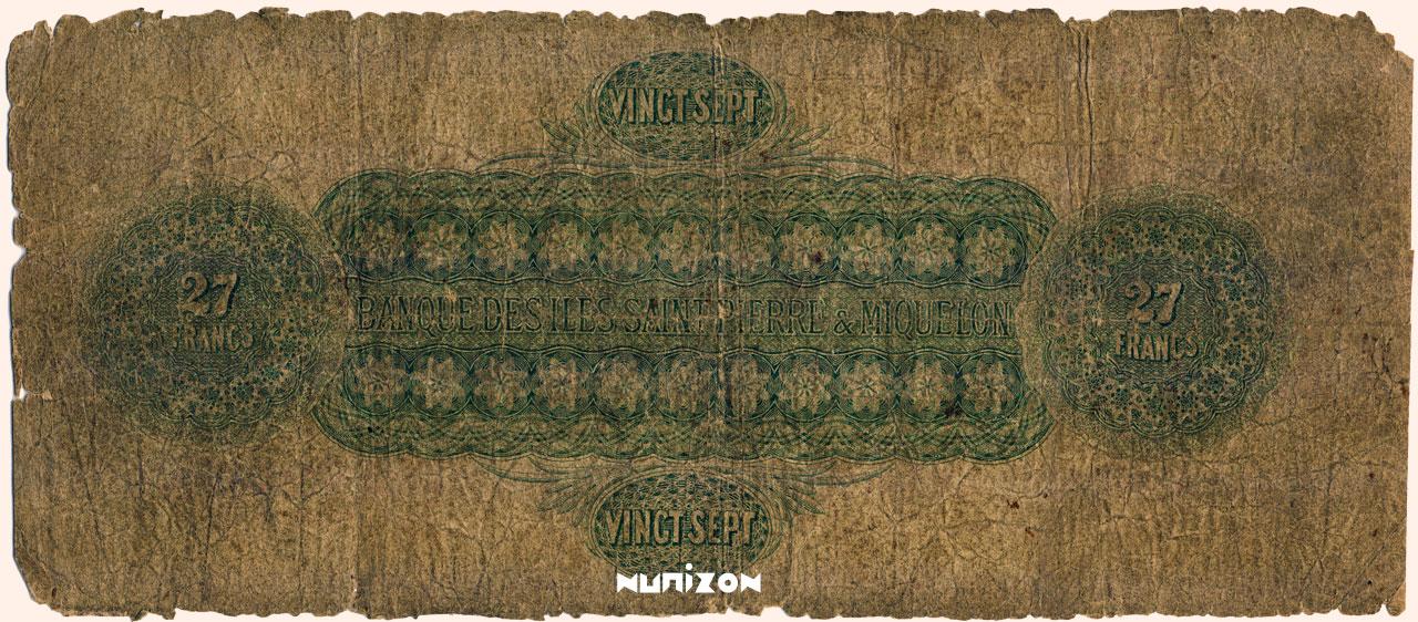 VERSO 27 francs Type 1895