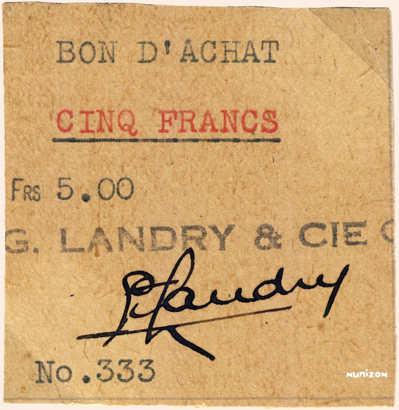 RECTO 5 francs Type 1942 Voucher