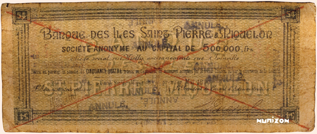 VERSO 54 francs Type 1890
