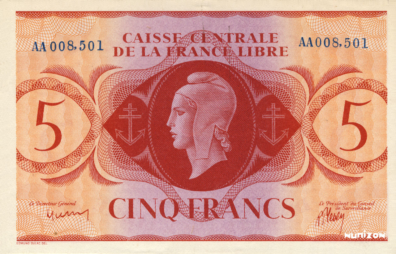 RECTO 5 francs Type 1943  (UK)