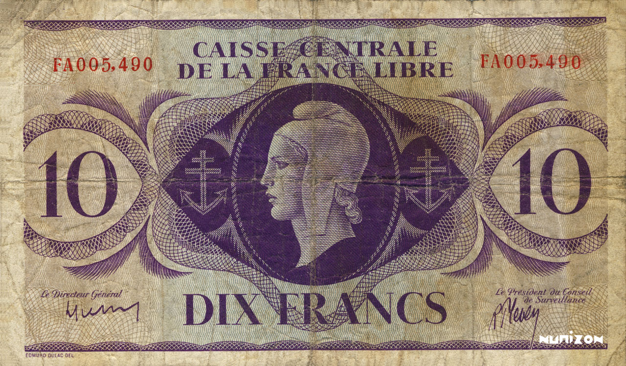 RECTO 10 francs Type 1943  (UK)