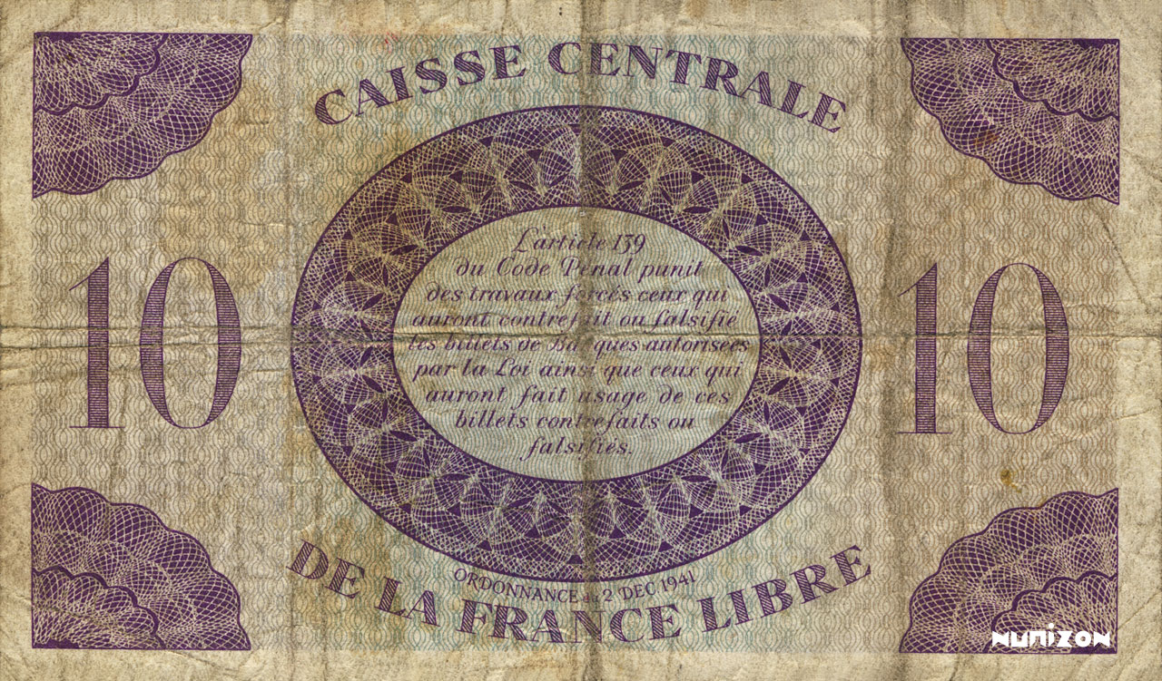VERSO 10 francs Type 1943  (GB)