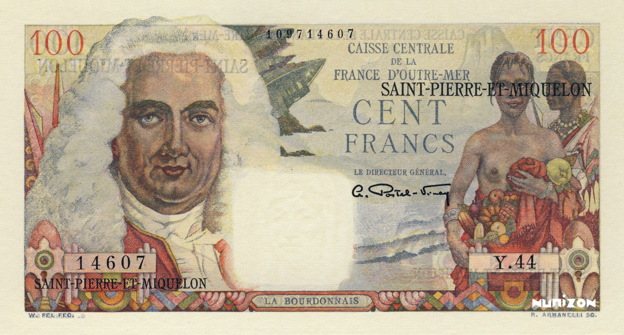 RECTO 100 francs La Bourdonnais Type 1946 modified