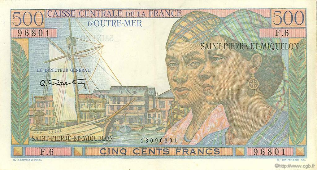 RECTO 500 francs Pointe à Pitre Type 1946 modified
