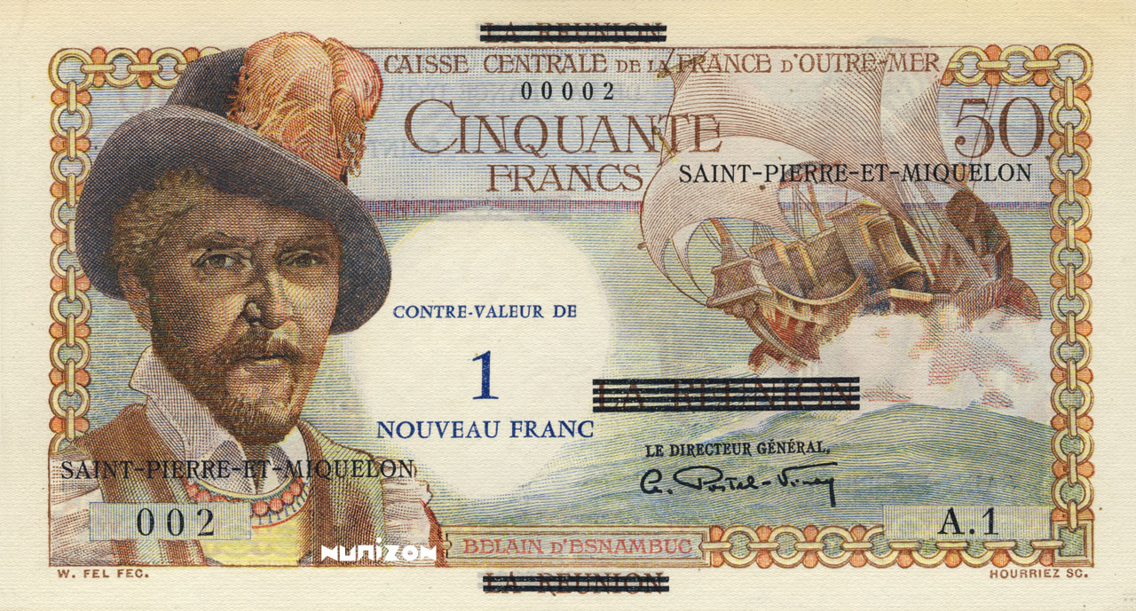 RECTO 1 NF/50 francs Reunion Type 1960