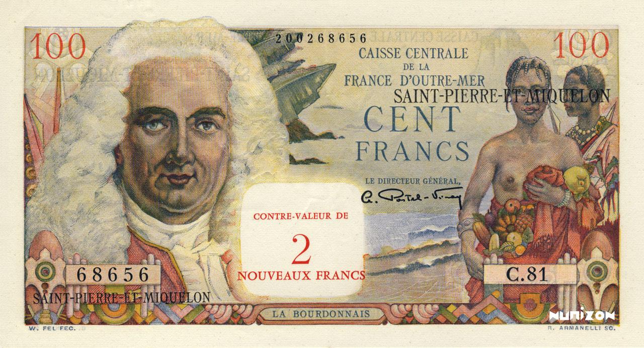 RECTO 2 NF/100 francs La Bourdonnais Type 1960