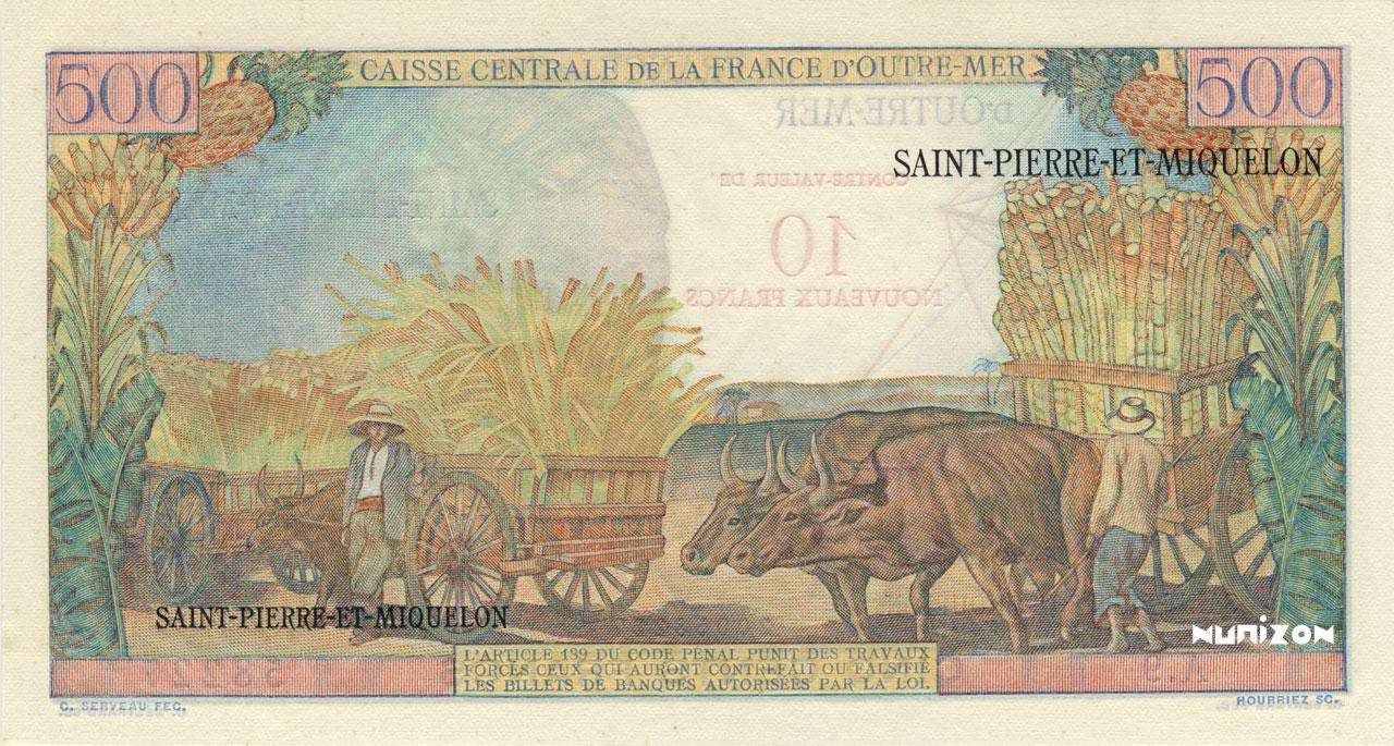 VERSO 10 NF/500 francs Pointe à Pitre Type 1960