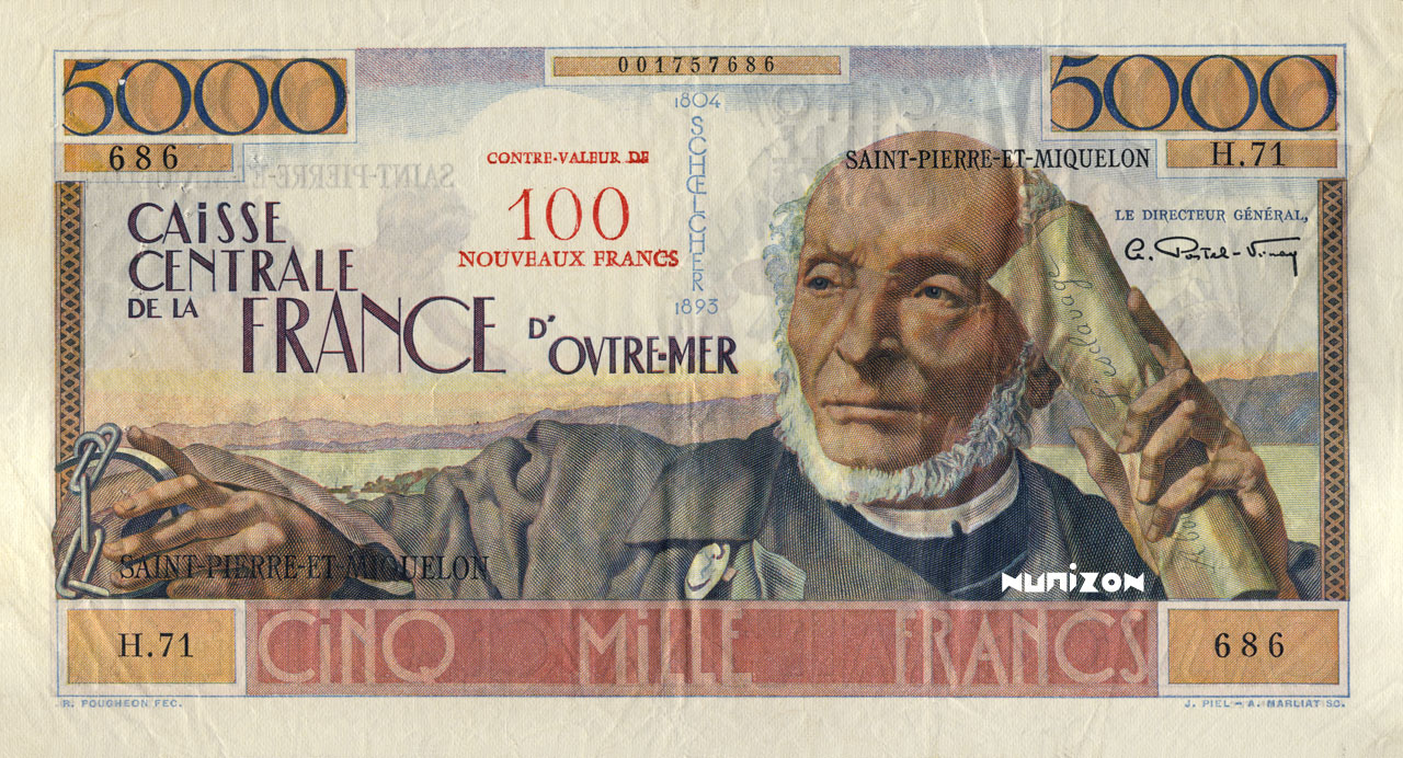 RECTO 100 NF/5000 francs Schoelcher Type 1960