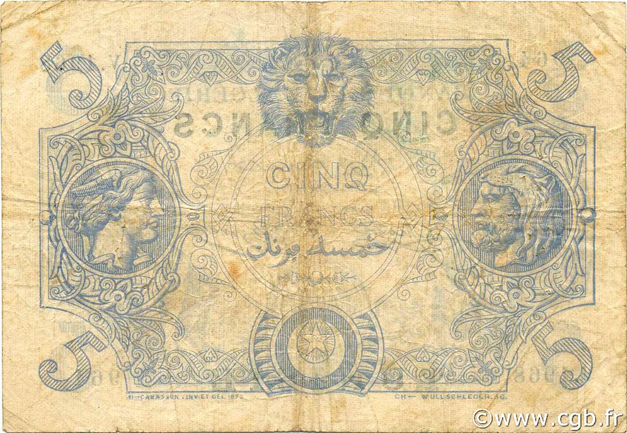 VERSO 5 francs Bleu Type 1873