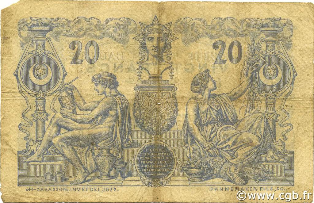 VERSO 20 francs Bleu Type 1873