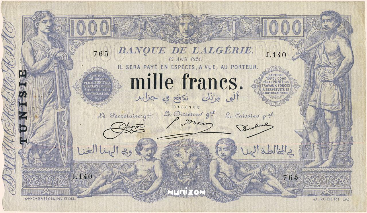 RECTO 1000 francs Bleu Type 1875 modifié