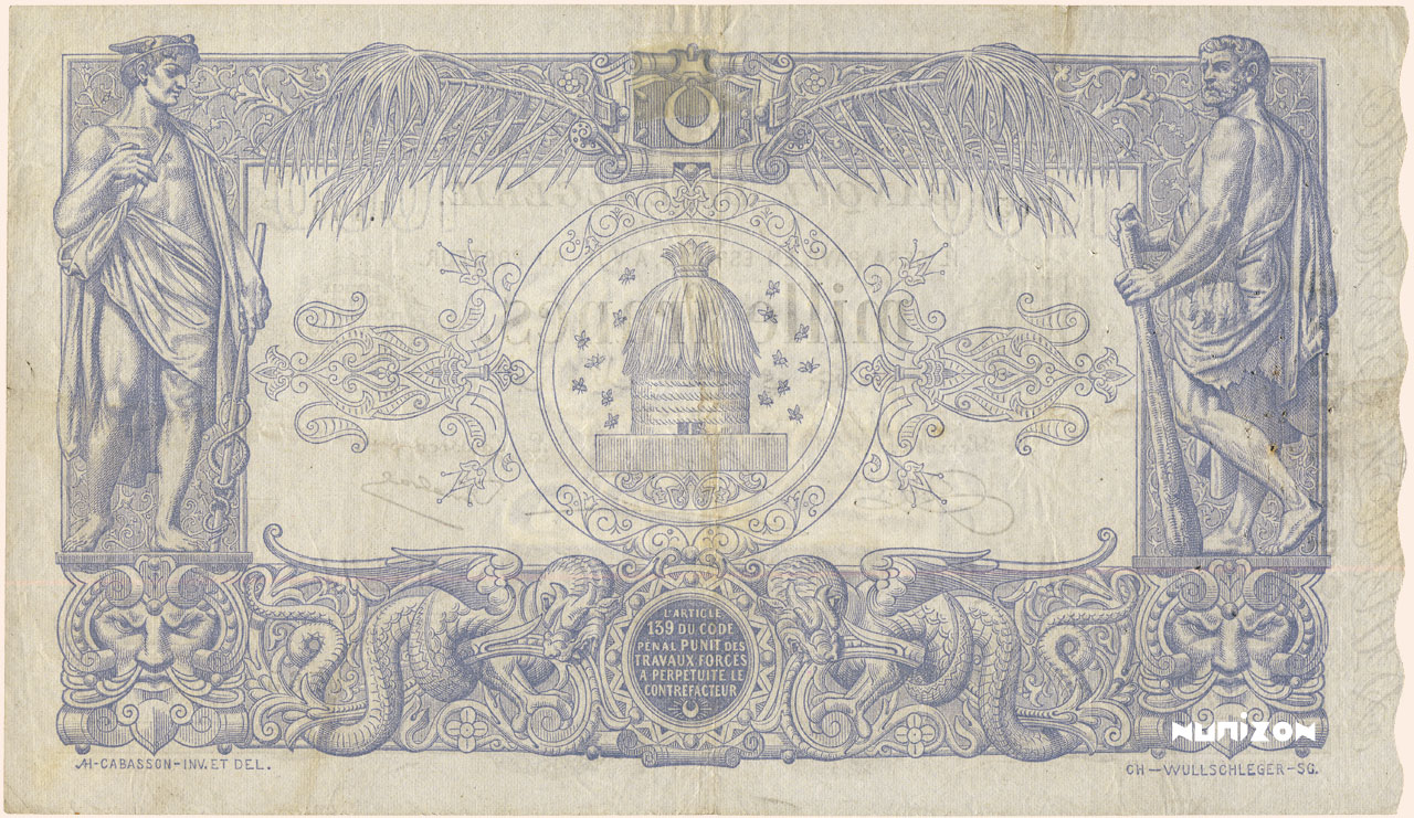 VERSO 1000 francs Blue Type 1875 modified