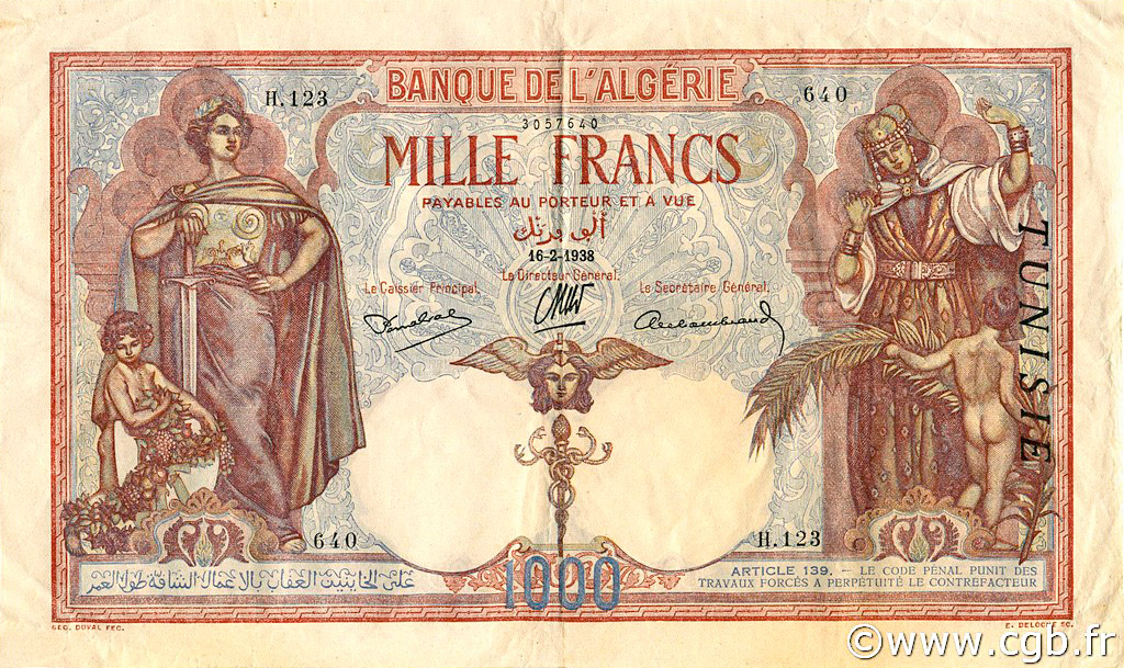 RECTO 1000 francs Type 1926