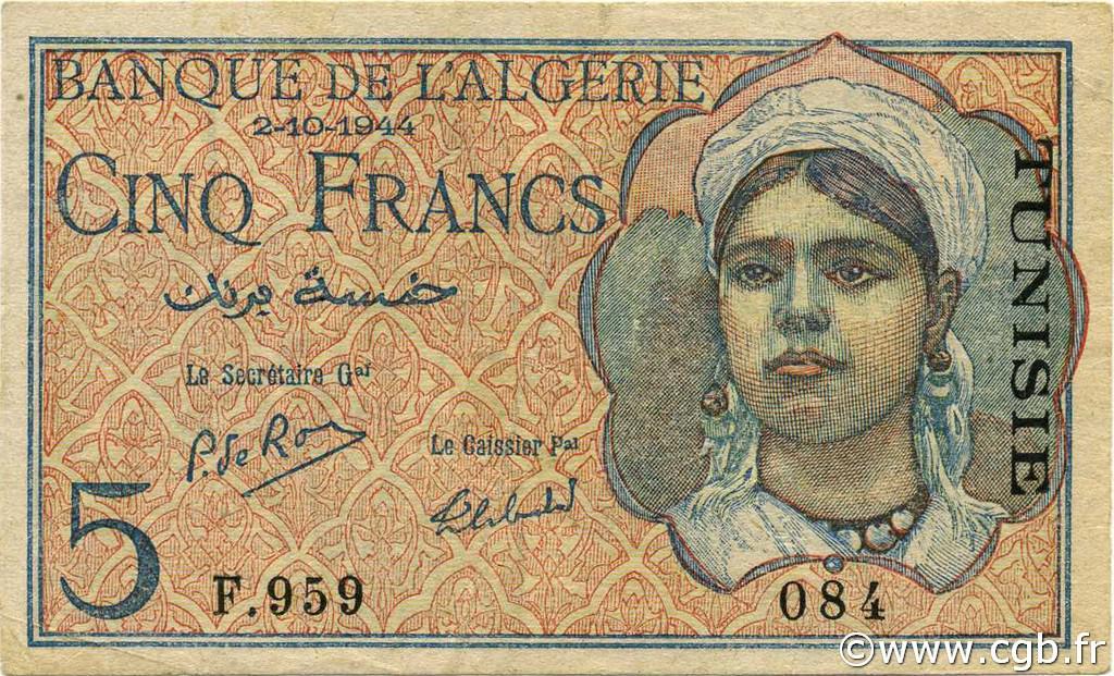 RECTO 5 francs Type 1944  Signature Secretary