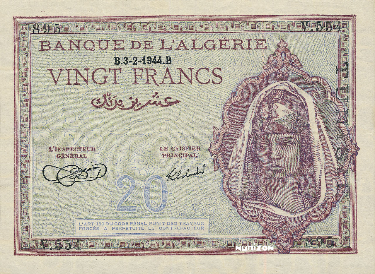 RECTO 20 francs Type 1943  Signature Inspector