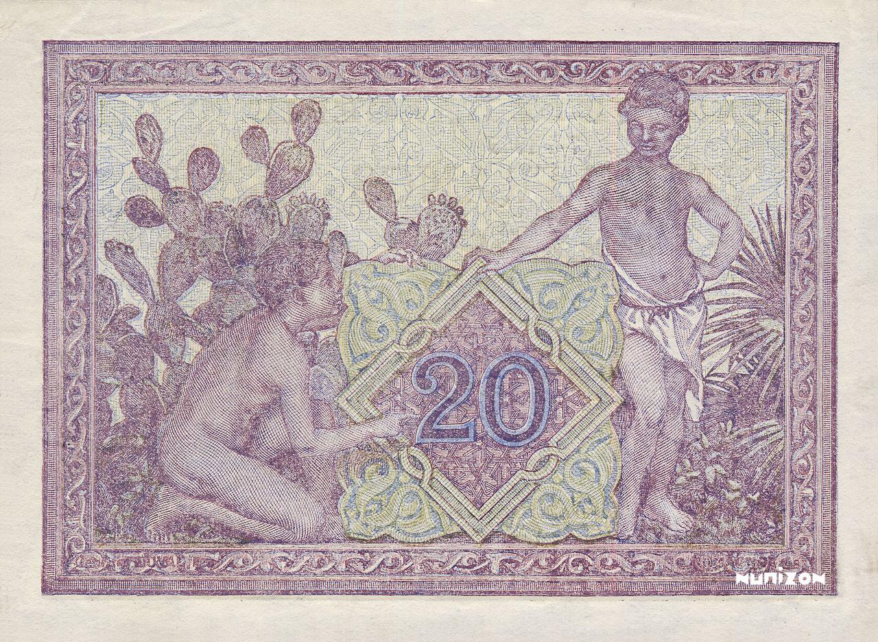 VERSO 20 francs Type 1943  Signature Secrétaire
