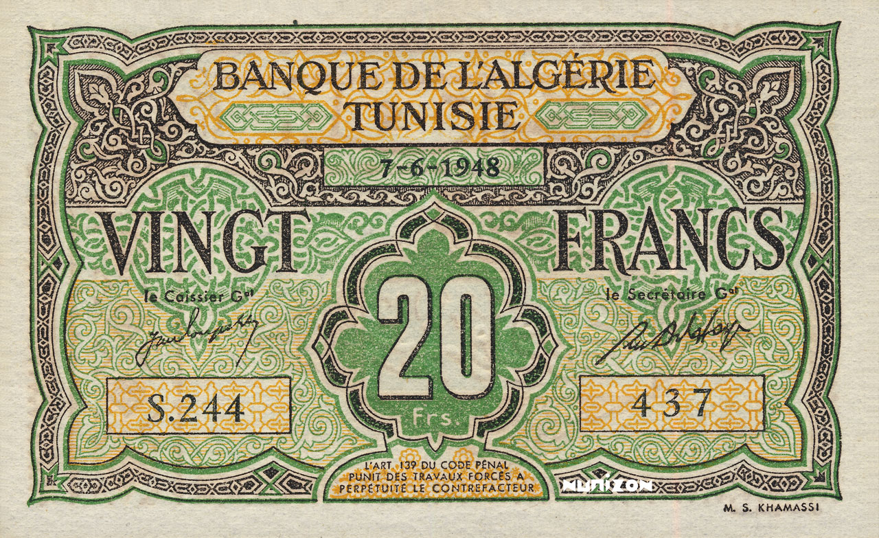 RECTO 20 francs Type 1946